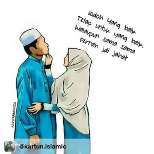 31 Kartun Pasangan Muslim Dan Muslimah